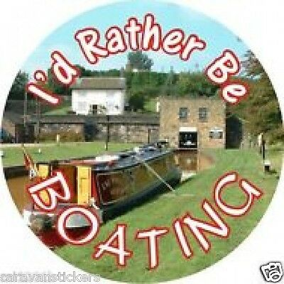 Spare Wheel Cover 'I'd Rather be Narrowboating' Sticker Decal Graphic - SINGLE