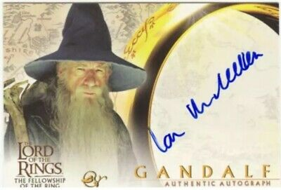 Lord Of The Rings LOTR FotR Autograph Card Sir Ian McKellen As Gandalf