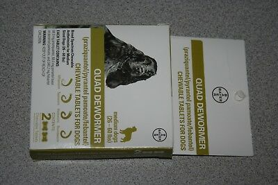 Bayer Quad Dewormer MEDIUM Dogs (26-60lbs) 2 Chewable Tablets NEW