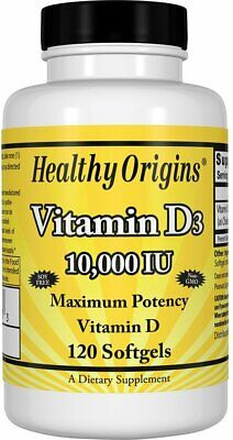 Vitamin D3, Healthy Origins, 120 softgels 10000 IU