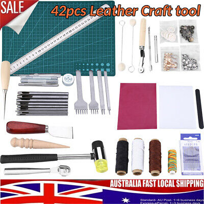 42x Professional Leather Craft Leatherworking Tool Kit Hand Sewing Punch Carving