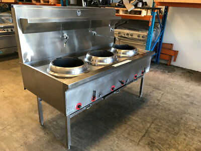 Refurbished B & S three hole gas wok table