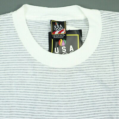 93f9ac363875 Vtg 90s Deadstock Striped Olympic T-Shirt LARGE Surf Skate Grunge NOS NWT  USA Md