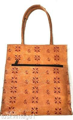 VINTAGE Indian PRESSED LEATHER dyed FLORAL shoulder bag TOTE handbag
