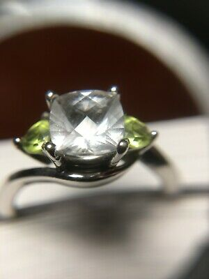 Brilliant Cushion Cut White Topaz With Trillion Peridot Side Stones Best Offer