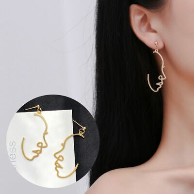 2019 Gold Earrings Dangle Face/Hand For Statement Tone Fashion Trend Women New