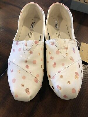 a596aba913b Toms Women s Classic Pale Blush Metallic Party Dots Canvas Size 7.5 New In  Box
