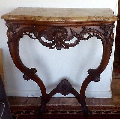 Pair of Antique French Louis Xv Style Marble Top Console Tables