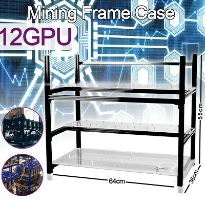 12 GPU Open Air Mining Rig Frame Miner Case Crypto Coin Stackable For ETC BTH