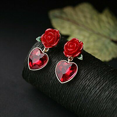 Fashion Red Heart Rose Pendant Earrings Crystal Ear Stud Bridal Jewelry Gift NEW