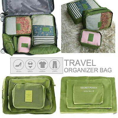 Set of 6 Travel Storage Bags Clothes Packing Cube Luggage Organizer Pouch, Green