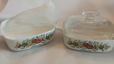 2 Corning Ware Spice Of Life Casserole Dishes A-1-B 1 Quart + Pyrex Lid