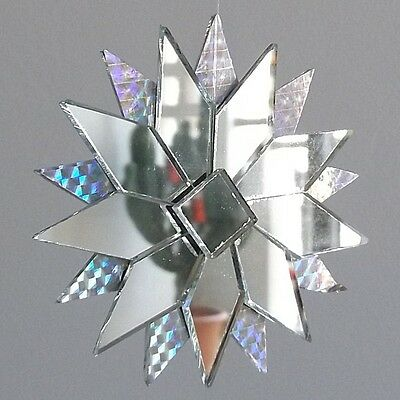 CLEAR RECYCLED GLASS Mandala Hanging Star Mobile Mirrored