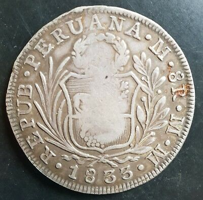 1833 Philippines Countermarked On Peru Silver 8 Reales (Very Rare Coin)...