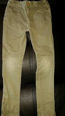 Blue Zoo Uk Girls Size 8 Khaki Green Denim Skinny Stretch Jeans Ankle Zips
