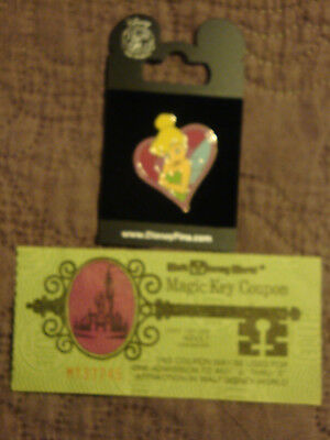 Disneyworld 1970'S Adult Magic Key Ticket And Tinkerbell 2010 Heart Pin