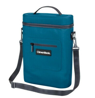 Clevermade Wine Bottle and 6 Pack Cooler Insulated Tote with strap and opener