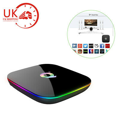New 6K Q Plus Android 8.1 TV BOX 4GB+32GB H6 Quad Core HD Media Player UK Set