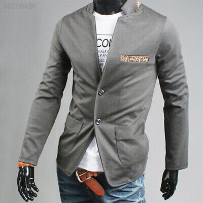 70D0 Men Casual Leopard Spicing Suit Blazer Grey Coat Wedding Jacket XL Tops