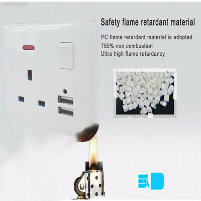 9C27 Wall Socket 13A Mains Socket DIY Outlet Slim Plate White 2 USB 5V 2.1A