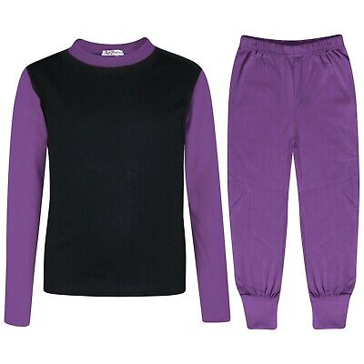 Kids Girls Lilac Color Contrast Pjs Plain Stylish Pyjamas Set New Age 2-13 Year