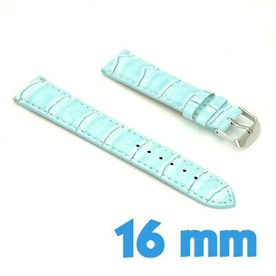 Bracelet Cuir PU Croco Bleu Montre 16mm My-Montre