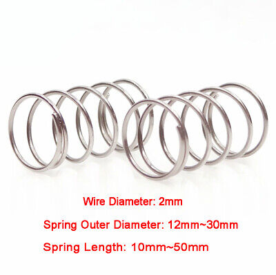 4pcs 2mm Stainless Steel Pressure Tension Spring Compression Springs 12-30mm O.D