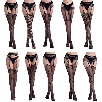 Womens Plus Size Sexy High Waist Fishnet Tights Suspender Pantyhose Hollow Out