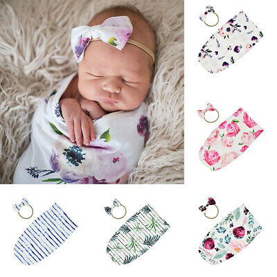 2Pcs Newborn Infant Baby Girls Swaddle Cocoon Wrap Warm Covers Blanket +Headband