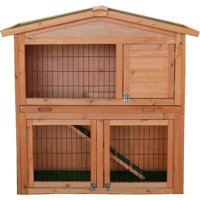 NEW Two Storey Rabbits Hutch Garden Pets Home House Wooden Guinea Pigs Hutches