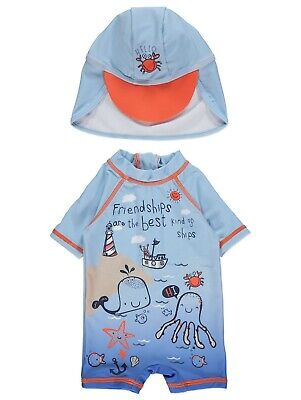 Boys UV Sun Protection Surfsuit and Hat UV Sunsafe All in One Holiday NEW BNWT