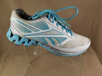 Reebok Womens ZigTech White Blue Running Walking Shoes Sneaker Size Sz 8.5 b056a6cd4
