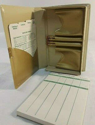 Vintage Playing Card Holder w/ Room for 2 Decks  Score Pad & Pencils, Bridge...
