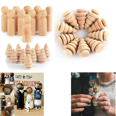 Set Home Decor Wedding Kid Toy DIY Crafts Peg Dolls Unpainted Wooden People
