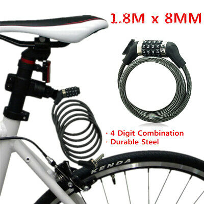 1.8M Bike Bicycle 4 Digit Code Combination Password Lock Steel Security Cable