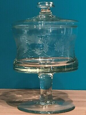 Vintage Large Clear Floral Etching Glass Pedestal Footed Covered Compote Dish