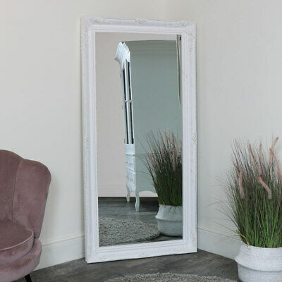 Extra large ornate white mirror French rococo wall floor leaner shabby chic home
