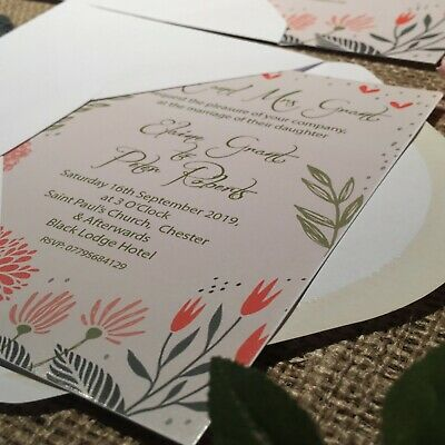 Personalised Wedding Day or Evening Invitations Invites  +  FREE Envelopes
