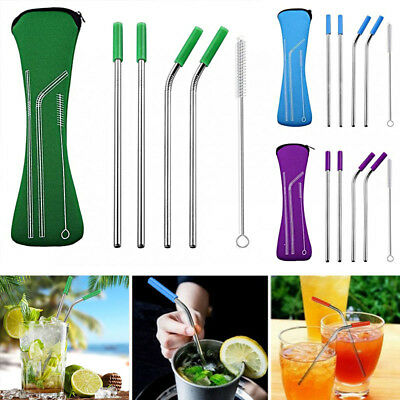 New1Set Reusable Stainless Steel Metal Drinking Straws + Cleaner Brush Creative