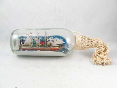 Vintage Folk Art 3 Mast Ship In A Bottle Diorama Signed 1982 Mckee Montreal