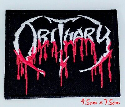 Obituary Blood Drip Logo Death Embroidered Iron On Patch appliqué #1100