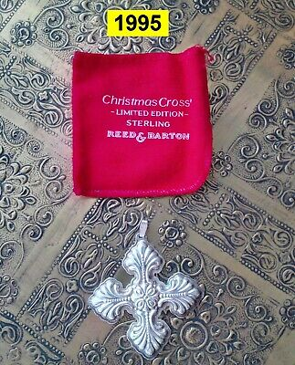2 REED & BARTON Sterling Silver Cross Ornaments - Years 1995 and 1996