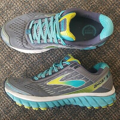 311d0b6a6c97a Brooks Women s Ghost 9 Size 9 MedB Running Shoes Silver Blue Atoll Lime  Punch