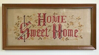 "VTG Framed Needlepoint Cross Stitch Embroidery ""Home Sweet Home"" 12 x 24"