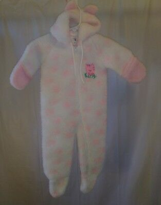 Vintage Baby Girls Cuddle Time Sleeper Romper Pajamas Size 12 Months Hooded