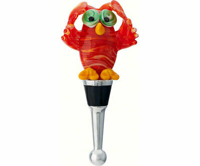 COLLECTIBLE BLOWN GLASS CREATURES  BOTTLE STOPPER - Red Owl - BS458