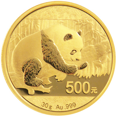 2016 500 Yuan Gold Chinese Panda .999 30 Gram BU Not Sealed