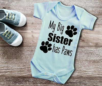 My Big sister has Paws short sleeve light blue baby grow bodysuit. cat dog paws