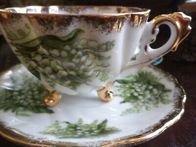 Vintage Japan Footed Tea Cup and Saucer Lilly of the Valley