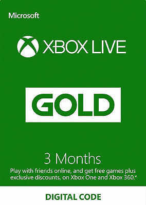 XBOX LIVE GOLD 3 Month Membership Microsoft XBOX One & 360 3 Month